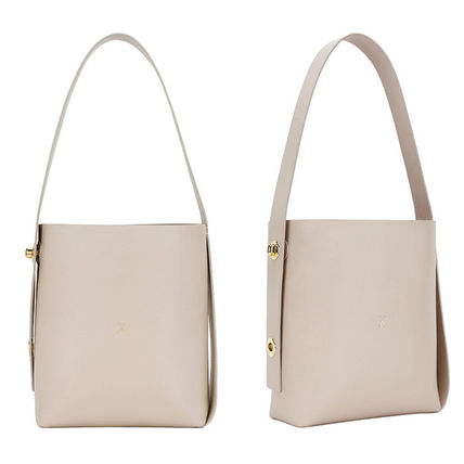 2WAY Plain Leather Elegant Style Logo Totes
