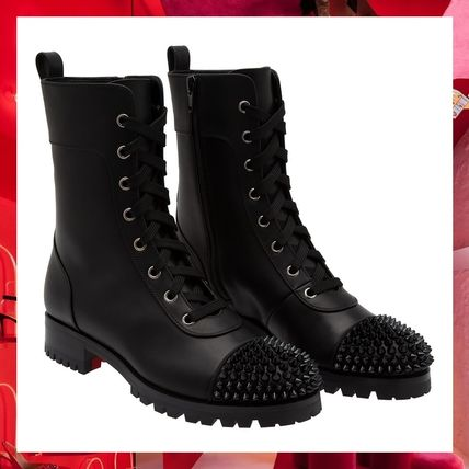 newest collection 19726 ae450 Christian Louboutin Platform Lace-up Casual Style Plain Leather Lace-up  Boots