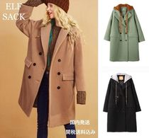ELF SACK Casual Style Wool Blended Fabrics Plain Long Chester Coats