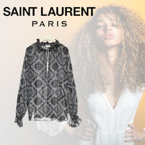 Saint Laurent Long Sleeves Cotton Medium Elegant Style Shirts & Blouses