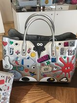 Anya Hindmarch Casual Style Street Style A4 Leather Oversized Logo Metallic