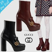 GUCCI GG Marmont Round Toe Plain Leather Fringes Chunky Heels High Heel Boots