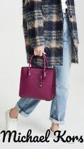 Michael Kors MERCER 2WAY Chain Leather Elegant Style Totes