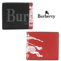 Burberry Leather Logo Folding Wallets