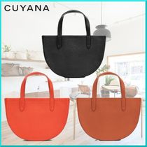 CUYANA Plain Leather Elegant Style Shoulder Bags