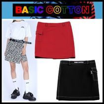 BASIC COTTON Casual Style Street Style Skirts