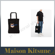 MAISON KITSUNE Unisex A4 Other Animal Patterns Totes
