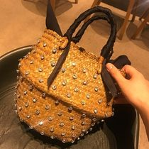 Blended Fabrics Plain With Jewels Straw Bags