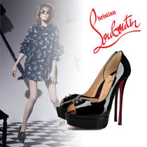 Christian Louboutin Open Toe Plain Leather Elegant Style Peep Toe Pumps & Mules