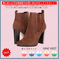 Nine West Square Toe Casual Style Chunky Heels Ankle & Booties Boots