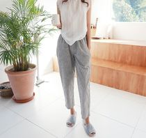 Stripes Casual Style Linen Medium Wide Leg Pants