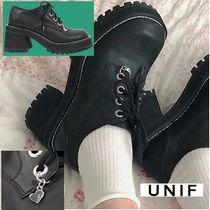UNIF Clothing Casual Style Unisex Plain Leather Block Heels Shoes