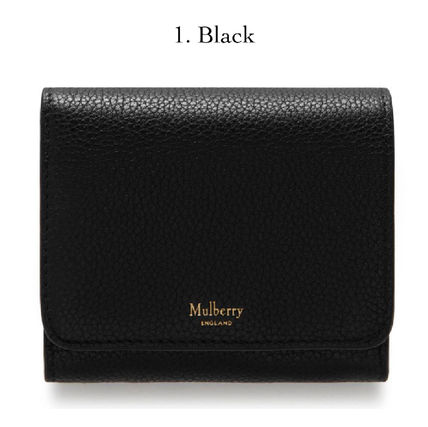 Blended Fabrics Plain Leather Folding Wallet Logo