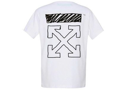 Off-White More T-Shirts Unisex Street Style U-Neck Collaboration Cotton 2