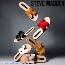 Steve Madden Open Toe Rubber Sole Casual Style Plain Leather Slippers