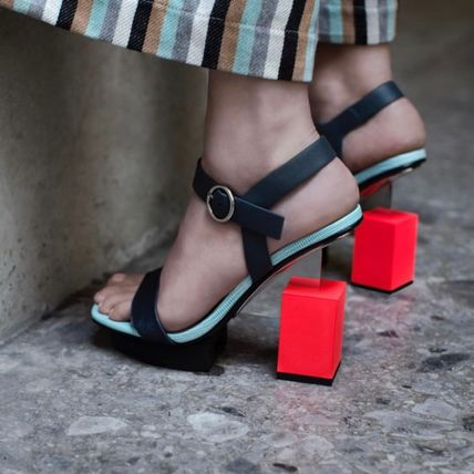 Open Toe Leather Heeled Sandals