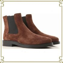 TOD'S Round Toe Rubber Sole Casual Style Suede Chelsea Boots