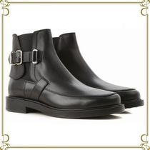 TOD'S Round Toe Rubber Sole Plain Leather Chelsea Boots