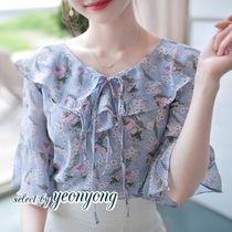 Flower Patterns Casual Style Puffed Sleeves Medium