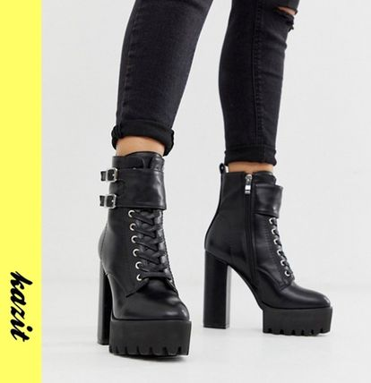 Platform Casual Style Faux Fur Ankle & Booties Boots