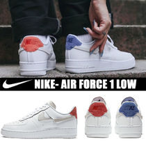 Nike AIR FORCE 1 Round Toe Rubber Sole Casual Style Street Style Plain