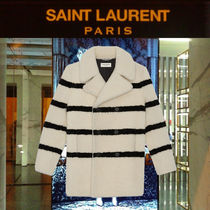 Saint Laurent Stripes Unisex Fur Street Style Long Peacoats Coats