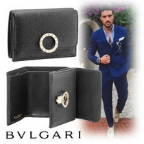 Bvlgari Street Style Plain Leather Folding Wallets