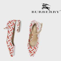 Burberry Monogram Open Toe Blended Fabrics Street Style Leather
