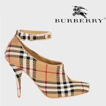 Burberry Other Check Patterns Open Toe Street Style Elegant Style