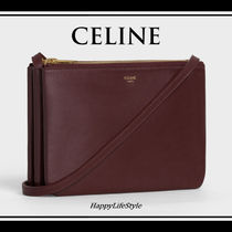 CELINE Trio Bag 3WAY Plain Leather Elegant Style Bold Shoulder Bags