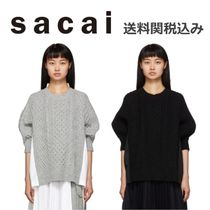sacai Crew Neck Cable Knit Wool Blended Fabrics Plain