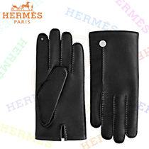 HERMES Silk Blended Fabrics Plain Smartphone Use Gloves