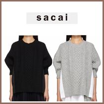 sacai Crew Neck Cable Knit Wool Blended Fabrics Medium Knitwear