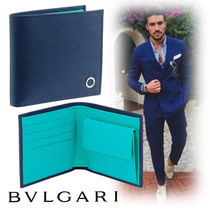 Bvlgari Street Style Bi-color Plain Leather Folding Wallets