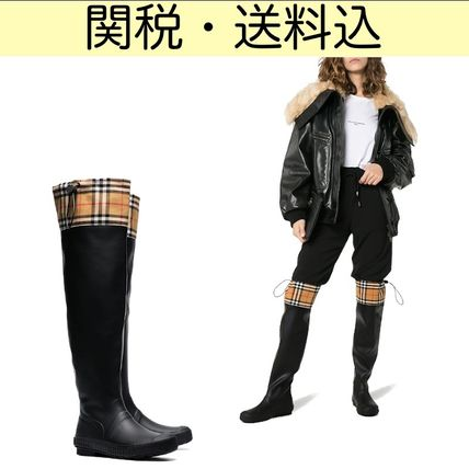 Other Check Patterns Round Toe Rain Boots Boots