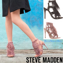 Steve Madden Open Toe Casual Style Faux Fur Blended Fabrics Plain