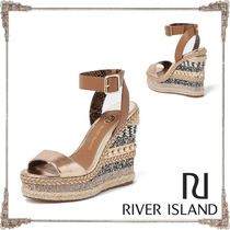River Island Open Toe Faux Fur Blended Fabrics Platform & Wedge Sandals
