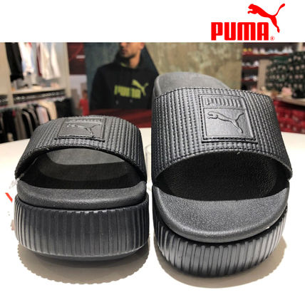 PUMA Open Toe Platform Casual Style Street Style PVC Clothing