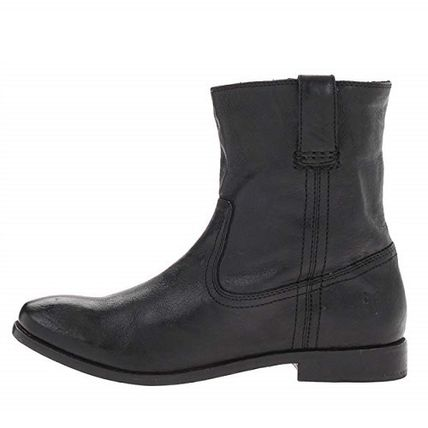 Cowboy Boots Round Toe Plain Leather Flat Boots