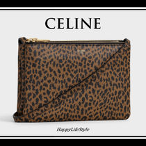 CELINE Trio Bag Leopard Patterns 3WAY Leather Elegant Style Shoulder Bags