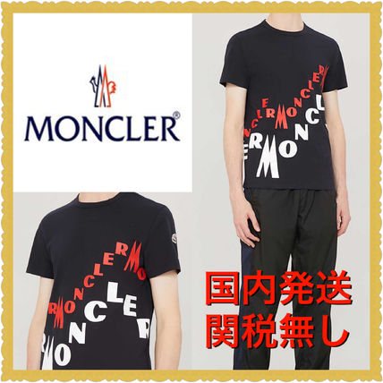 MONCLER Crew Neck Crew Neck Street Style Plain Cotton Short Sleeves