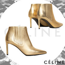 CELINE Plain Leather Pin Heels Elegant Style Ankle & Booties Boots