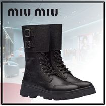 MiuMiu Casual Style Plain Leather Ankle & Booties Boots