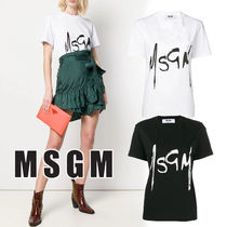 MSGM Crew Neck Street Style Cotton Medium Short Sleeves Oversized