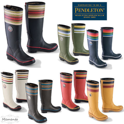 Round Toe Rubber Sole Logo Rain Boots Boots