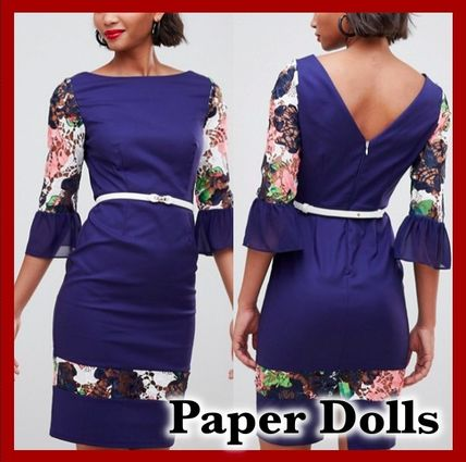 Flower Patterns Tight Boat Neck Cropped Medium Party Style