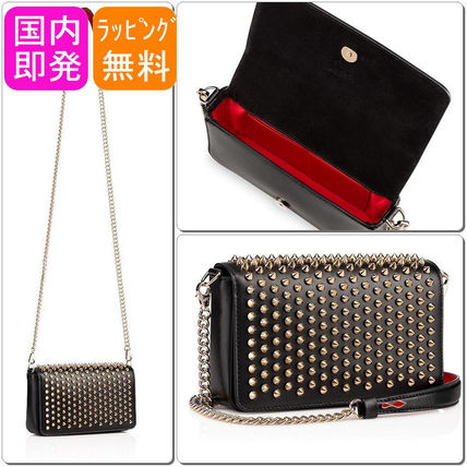 Calfskin Studded 2WAY Chain Party Style Shoulder Bags