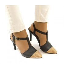 NAE Vegan Shoes Open Toe Bi-color Office Style Chunky Heels Heeled Sandals