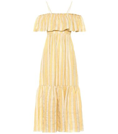 Stripes Casual Style Maxi Linen Long Dresses