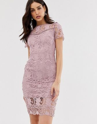 Tight Medium Short Sleeves Lace Dresses